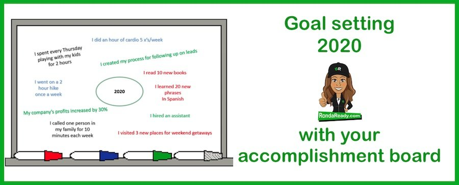 Goal setting 2020 with the RondaReady accomplishment board